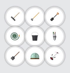 Flat icon dacha set of pail tool spade and other vector
