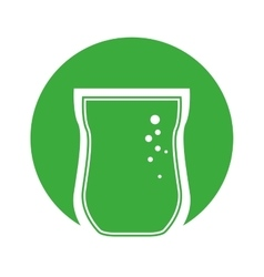 Glass cup bubbles outline with green color circle vector