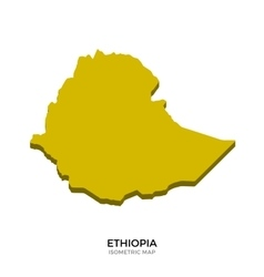 Isometric map of ethiopia detailed vector