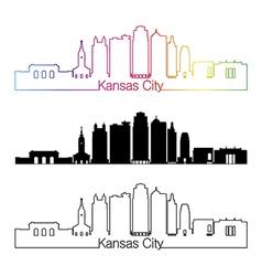 Kansas city v2 skyline linear style with rainbow vector