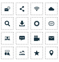 Media icons set collection of overcast gif vector