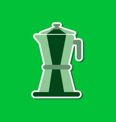 Paper sticker on stylish background coffee machine vector