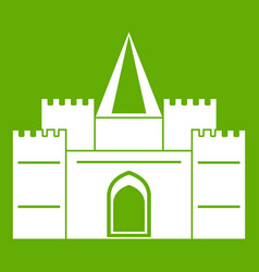 Residential mansion with towers icon green vector