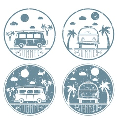 Retro bus with surfboard grunge labels set vector