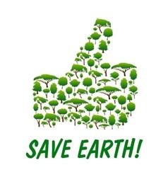 Save earth thumb up shape emblem vector