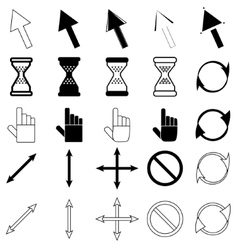 Set of cursors icons vector image