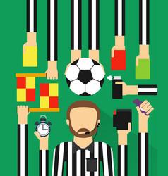 Soccer referee modern design fla set vector