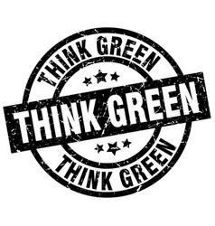 Think green round grunge black stamp vector