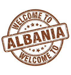 Welcome to albania brown round vintage stamp vector