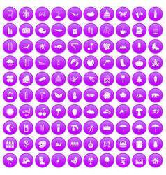 100 landscape icons set purple vector