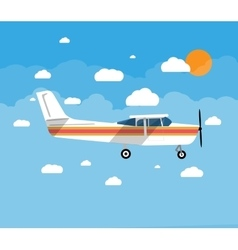 Small airplane in air with sky clouds and sun vector image