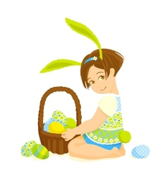 Little girl-bunny with a basket of eggs vector