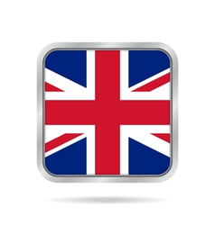 Flag of great britain metallic gray square button vector