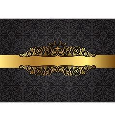 Vintage gold frame on damask black background vector