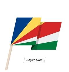 Seychelles ribbon waving flag isolated on white vector