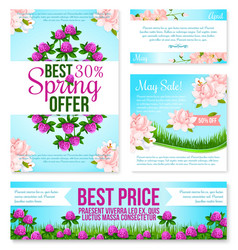 Spring sale poster discount floral card template vector