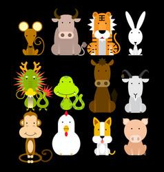 12 chinese zodiac icon set vector