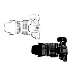 Top view white and black camera vintage icon vector