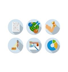 Flat design six icons set of seo vector