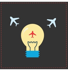Planes and light bulb flat icons vector