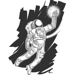 Sketch of astronaut or spaceman grabbing a star vector