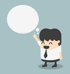 Young businessman indicate cloud text vector