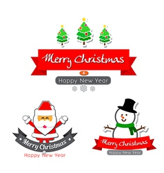 043 merry christmas text calligraphy with cartoon vector