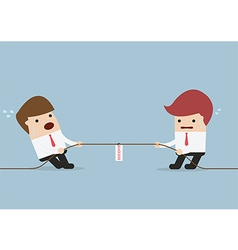 Businessmen in tug-of-war competition vector