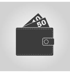 The wallet icon purse symbol flat vector