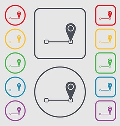Map pointer icon sign symbols on the round and vector