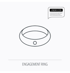 Diamond engagement ring icon jewelery sign vector