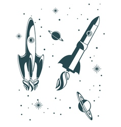 rocket ship pattern vector image