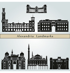 Alexandria landmarks and monuments vector