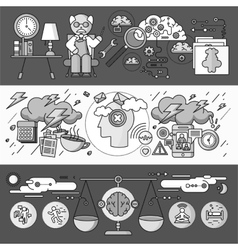 Diagnosis of brain psychology flat design vector