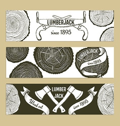 Sketch lumberjacks set of banners vector
