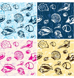 Seamless seashell background marine pattern vector