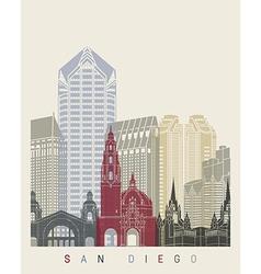 San Diego skyline poster vector image