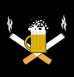 beer and cigarettes alcohol and smoking sign logo vector image vector image