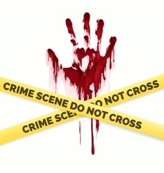 Bloody handprint and police crime scene vector
