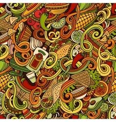 Cartoon mexican food doodles seamless pattern vector