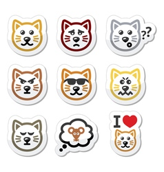 Cat labels set - happy sad angry isolated on whi vector