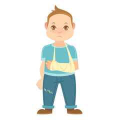 Child with broken arm isolated on white boy vector