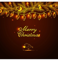 Christmas background with bird and decorations vector