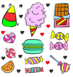Doodle candy various object colorful vector
