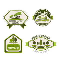 Ecology nature eco green label set vector