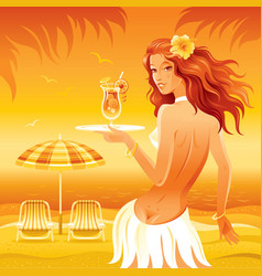 Evening beach background with beautiful hula girl vector image vector image