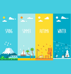 flat design 4 seasons background vector image