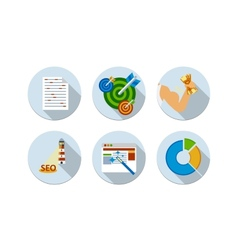 Flat design six icons set of SEO vector image vector image