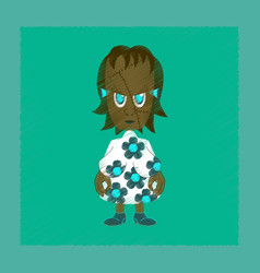Flat shading style icon zombie woman vector