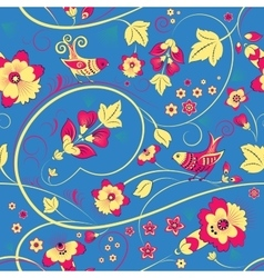 Floral seamless pattern with birds on blue vector
